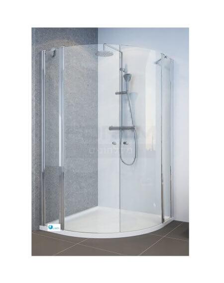 מקלחון פינתי עגול. 2 דפנות + 2 דלתות פנימה החוצה