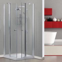 מקלחון פינתי שתי דלתות שתי דפנות דאלאס
