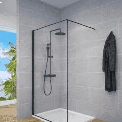 מקלחון דופן קבועה שחור למקלחת