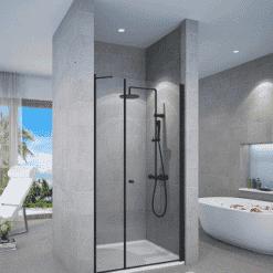 מקלחון שחור חזית דופן קבועה ודלת פתיחה החוצה