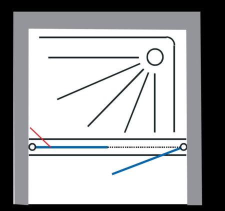 מקלחון חזית שחור , דופן קבועה ודלת פתיחה החוצה