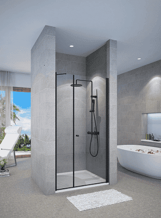 מקלחון חזית שחור דופן קבועה ודלת פתיחה החוצה