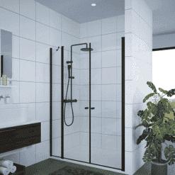 מקלחון שחור חזית דופן קבועה + 2 דלתות פנים וחוץ דופן קבועה + 2 דלתות פנים וחוץ