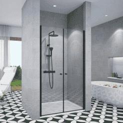 מקלחון שחור חזית 2 דלתות פנים וחוץ שתי דלתות נפתח פנימה והחוצה