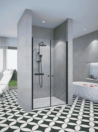 מקלחון חזית שחור חזית 2 דלתות פנים וחוץ שתי דלתות נפתח פנימה והחוצה