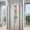 מקלחון חזית שחור 2 דפנות 2 דלתות נפתחות פנים חוץ