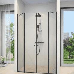 מקלחון שחור חזית 2 דפנות 2 דלתות נפתחות פנים חוץ