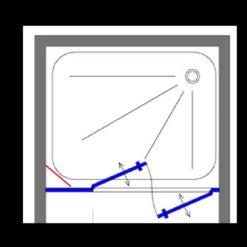 מקלחון חזית שחור דופן קבועה + שתי דלתות פנים וחוץ