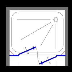 מקלחון חזית שחור. 2 דפנות קבועות + שתי דלתות פנים וחוץ