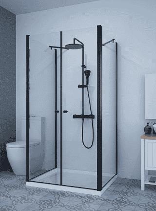 מקלחון בצורת ח שחור 2 קירות צד + חזית 2 דלתות