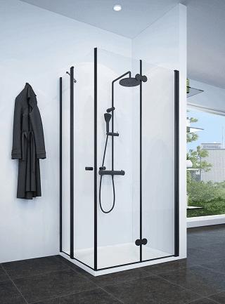 מקלחון פינתי שחור מתקפל ודלת