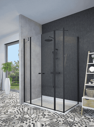 מקלחון פינתי שחור קיר צד וחזית 2 דפנות ו 2- דלתות נפתחות פנימה והחוצה