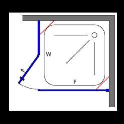 מקלחון פינתי קיר צד וקבוע + דלת פתיחה פרופיל שחור