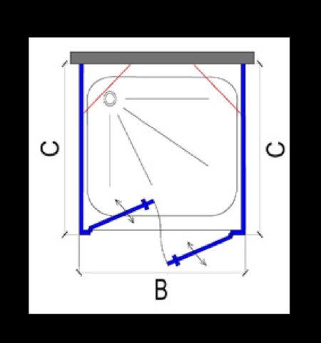 מקלחון שחור בצורת ח. 2 קירות צד + חזית 2 דלתות INOUT