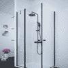 מקלחון פינתי שחור דופן קבועה ושתי דלתות נפתחות פנים-חוץ