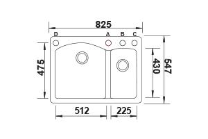 דיאמונד-1.5-שרטוט כיור מטבח בלאנקו