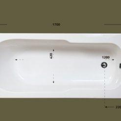 אמבטיה מלבנית אקרילית מבט עליון MTI-83 רוחב 70 ואורך 170