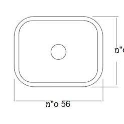 כיור מונח עשוי חרס שרטוט 9849