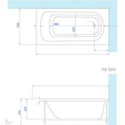 שרטוט MTI-114 אמבטיה אקרילית