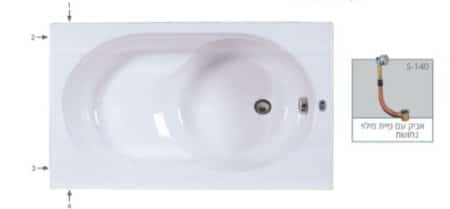 MTI-24 רוחב 70 ואורך 120 אמבטיה אקרילית