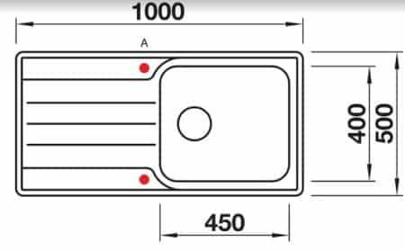 שרטוט כיור מטבח בלנקו נירוסטה דגם מדיאן 6S XL