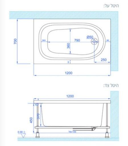MTI-01 אמבטיית שרטוט רוחב 70 אורך 120