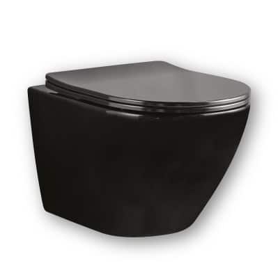 אסלה תלויה רימלס שחורה מיובי דגם מיאמי יבואן דיאור. מגיעה עם מושב הידראולי