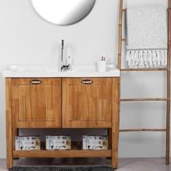 ארון אמבטיה עץ מלא עומד 100 סיציליה