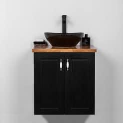 שחור ארון אמבטיה 60 תלוי רנסנס SO