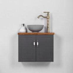 ארון אמבטיה צר עומק 30 סמ רוחב 60 סמ תלוי דגם פרובנס אפור