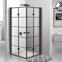 מקלחון שחור פינתי אקורדיון קוביות