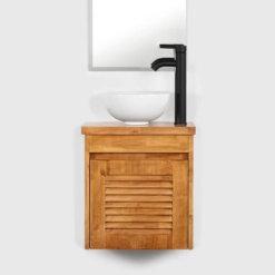 ארון אמבטיה קטן עץ מלא עומק 30 על 45 סמ יהלום